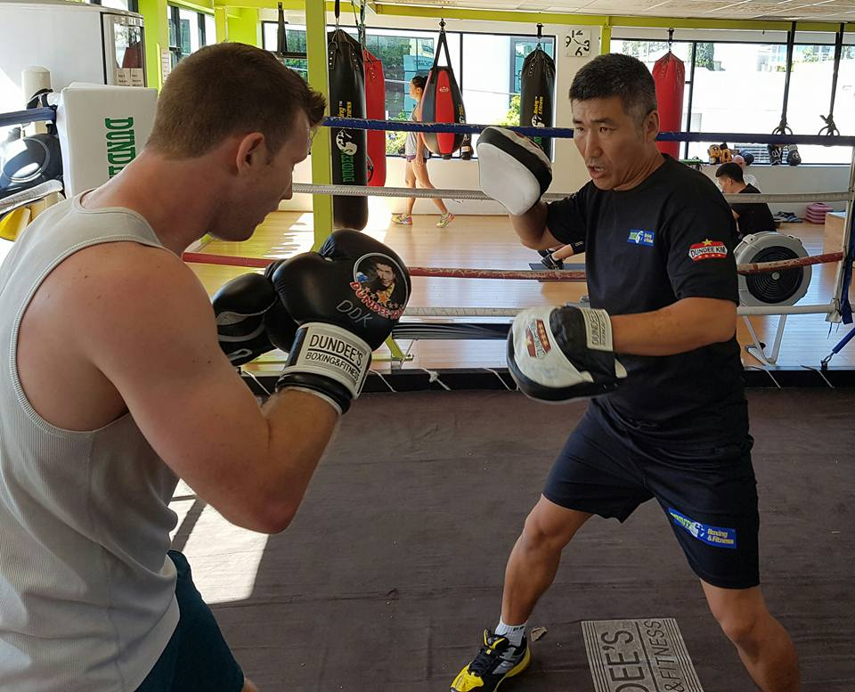 dundee with jeff horn - boxing gym
