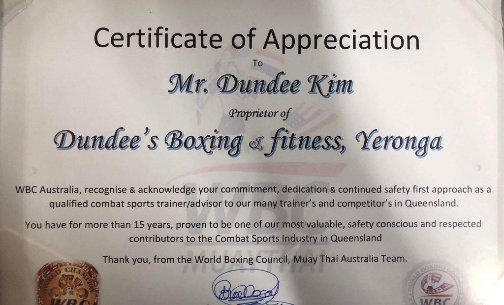 certificate of appreciation Yeronga